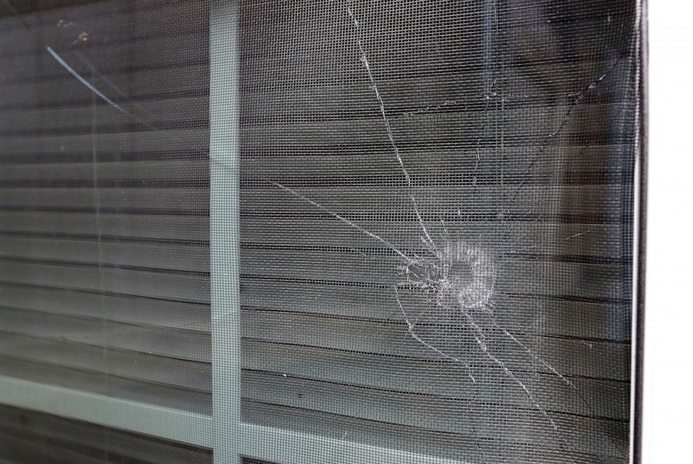 PHOTO: A bullet hole is seen in the rear window of Atatiana Jeffersons home in Fort Worth, Texas, Oct. 15, 2019.