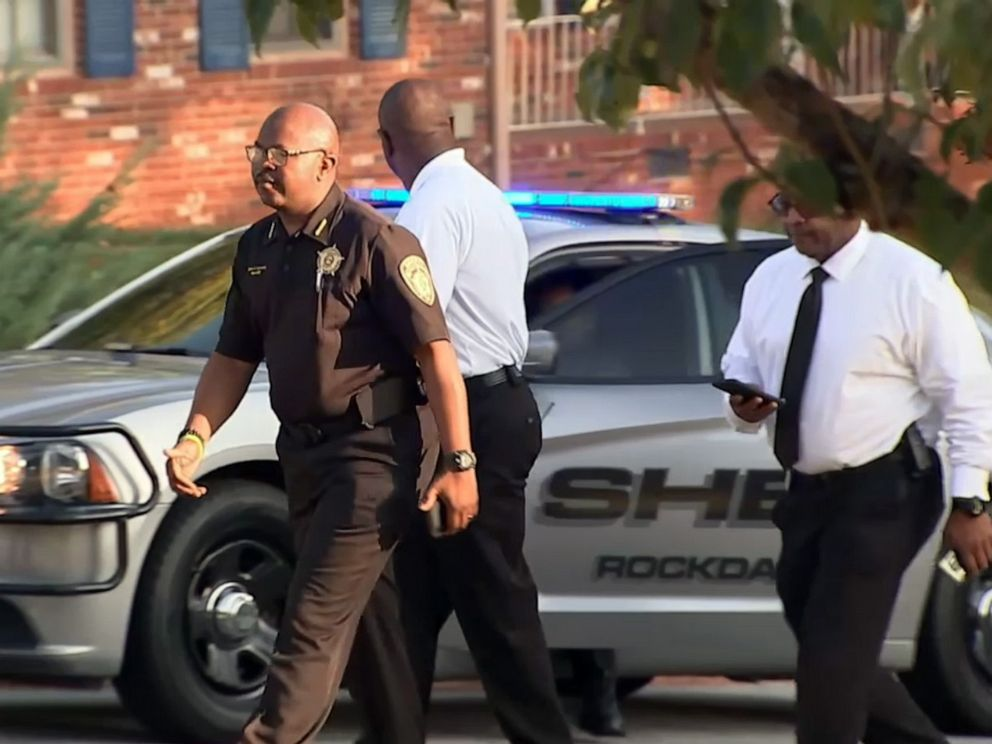 PHOTO: Investigators are pictured outside the scene where a homeowner shot and killed three men who were wearing masks early Monday morning on Sept. 16, 2019, in Rockdale County, Ga.