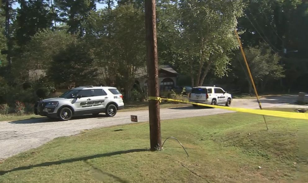 PHOTO: Rockdale County Sheriffs vehicles are pictured outside the scene where a homeowner shot and killed three men who were wearing masks early Monday morning on Sept. 16, 2019, in Rockdale County, Ga.