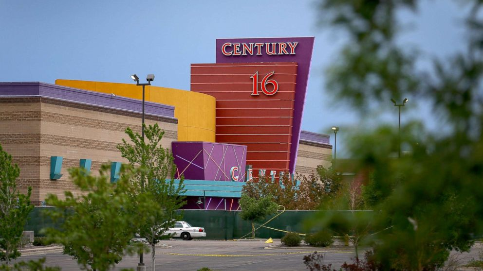 The Century 16 movie theatre is seen from a memorial setup across the street, July 28, 2012 in Aurora, Colorado.