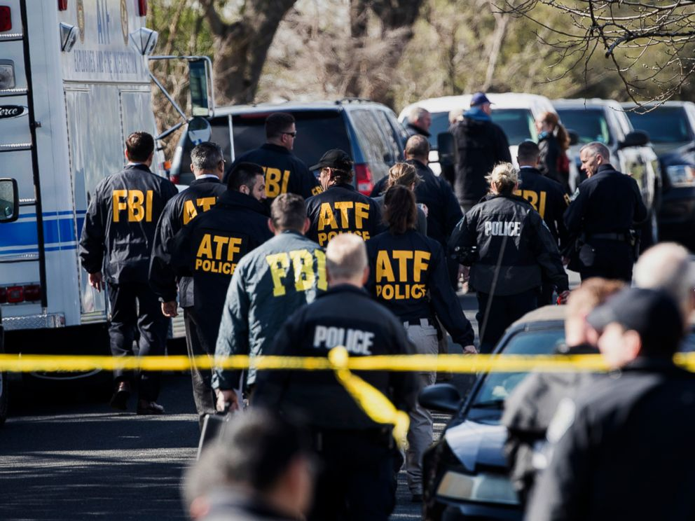 PHOTO:Authorities work on the scene of an explosion in Austin, Texas, March 12, 2018. Two package bomb blasts a few miles apart killed a teenager and wounded two women in Austin on Monday.