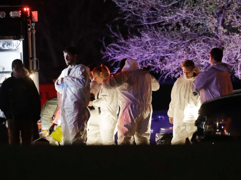 PHOTO: Members of law enforcement work near the area where a suspect in a series of bombing attacks in Austin blew himself up as authorities closed in, March 21, 2018, in Round Rock, Texas.