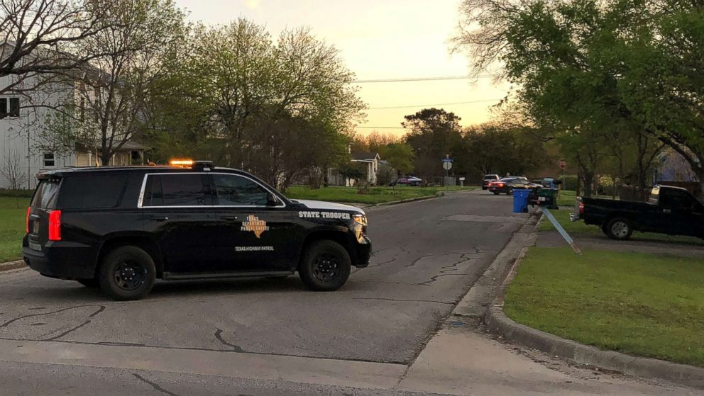 A Texas Department of Public Safety vehicle blocks a street into the neighborhood where the Austin bomb suspect may lived in Pfluggerville, Texas, March 21, 2018.