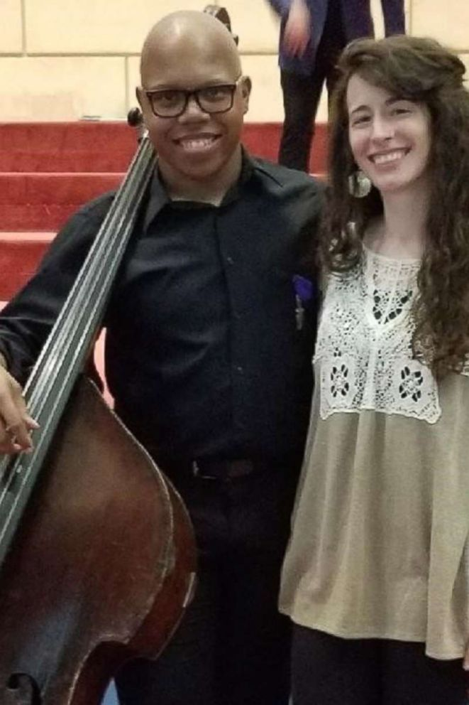 PHOTO: Shown here is Draylen Mason, a victim of one of the Austin bombings, left, posing with his orchestra teacher Dana Wygmans.