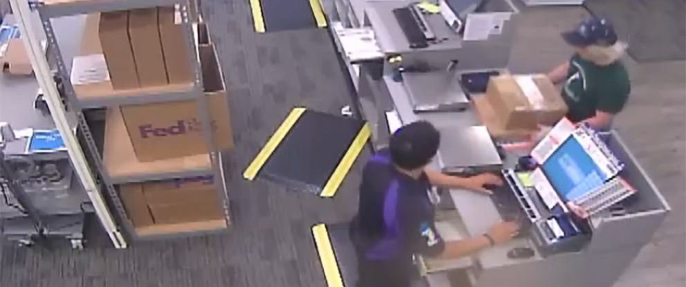 PHOTO: An image made from security camera footage appears to show a man identified by authorities as Austin bombing suspect Mark Conditt shipping two packages at a FedEx store on March 18, 2018.