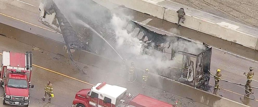 PHOTO: An 18-wheeler spilled about 40,000 pounds of avocados onto a Texas highway after crashing and catching fire, Dec. 12, 2017.