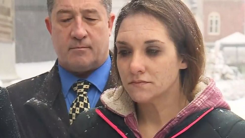 PHOTO: Trista Reynolds, the mother of a Maine toddler who vanished in 2011, speaks to the press about her wrongful death suit against the little girls father on Dec. 17, 2018.