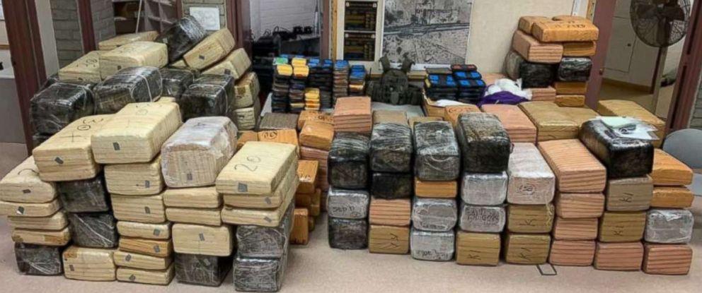 PHOTO: Authorities seized over 220 pounds of methamphetamine and 3,500 pounds of marijuana from two trucks near Gila Bend, Ariz., on Wednesday, Jan. 31, 2019.