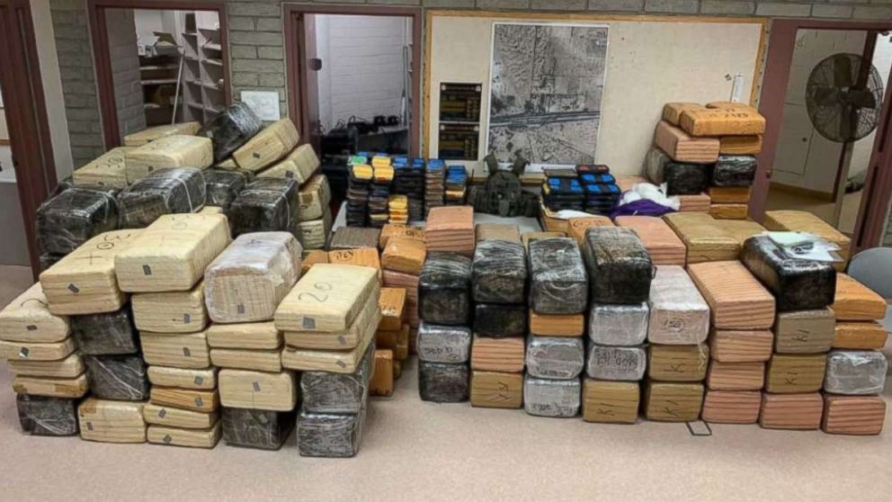 Authorities seized over 220 pounds of methamphetamine and 3,500 pounds of marijuana from two trucks near Gila Bend, Ariz., on Wednesday, Jan. 31, 2019.