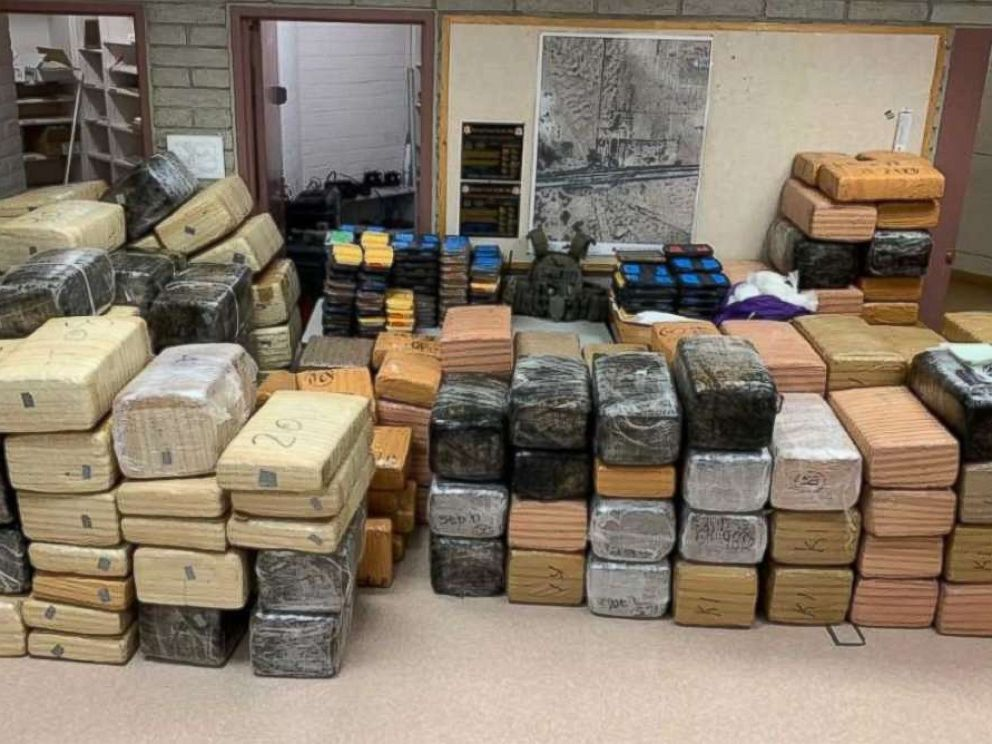 PHOTO: Authorities seized over 220 pounds of methamphetamine and 3,500 pounds of marijuana from two trucks near Gila Bend, Ariz., on Wednesday, Jan. 31, 2019.