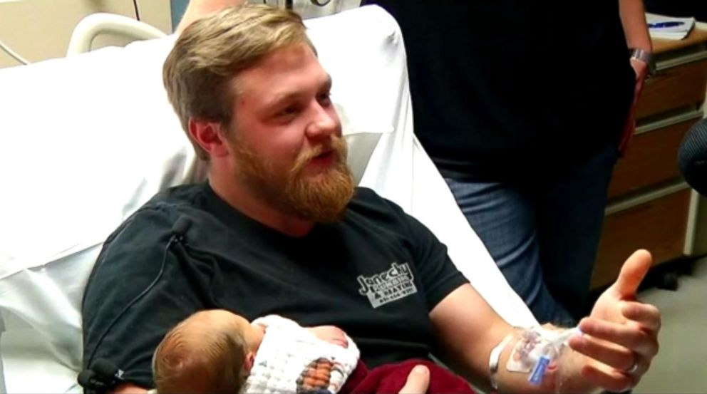 Andrew Goette went into a cardiac arrest and was saved by his pregnant wife.