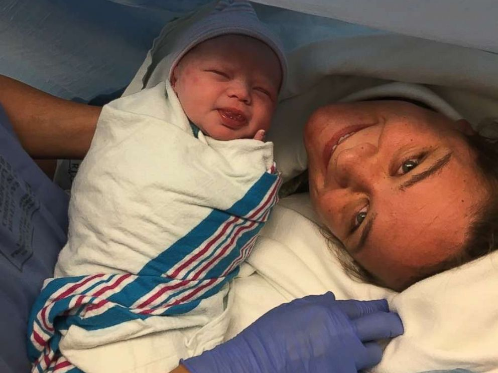 PHOTO: Danielle Weeks, who evacuated her Port Aransas, Texas, home with her family during Hurricane Harvey, gave birth to daughter Loralynn Aug. 29, 2017.