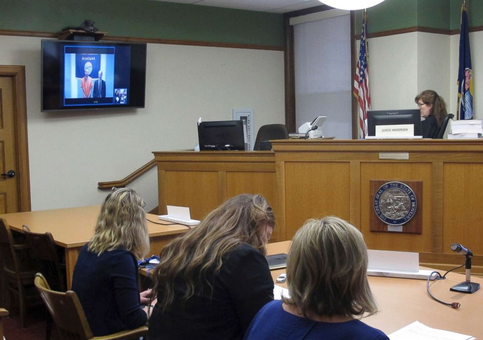 PHOTO: Missoula County Justice Court Judge Marie Andersen reads Francis Crowley, appearing by videoconference, his rights in a court hearing in Missoula, Mont., July 10, 2018.