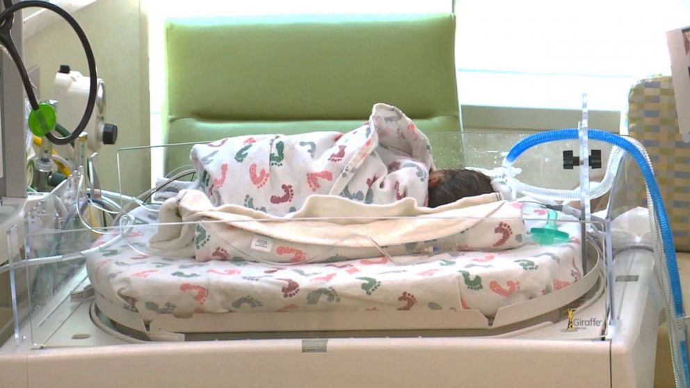 PHOTO: Baby rests after being saved by a police officer who performed CPR.
