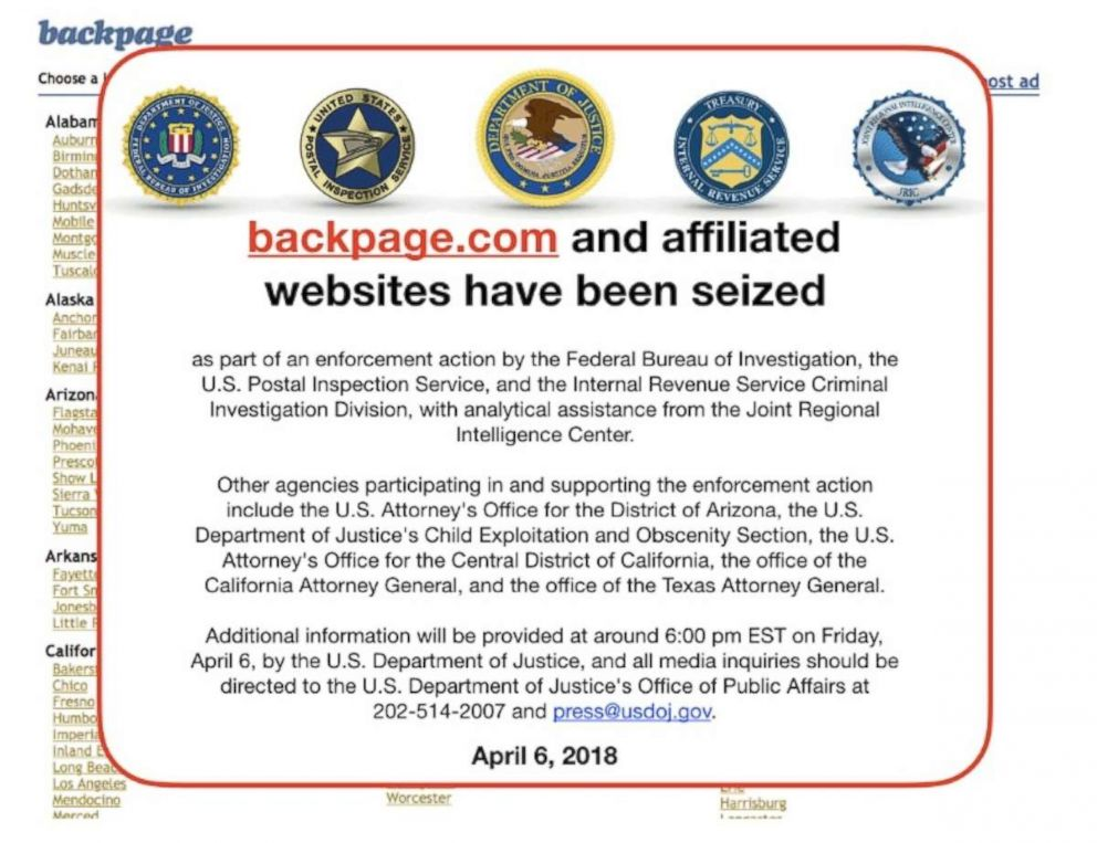 PHOTO: A notice placed over the website of backpage.com on April 6, 2018.