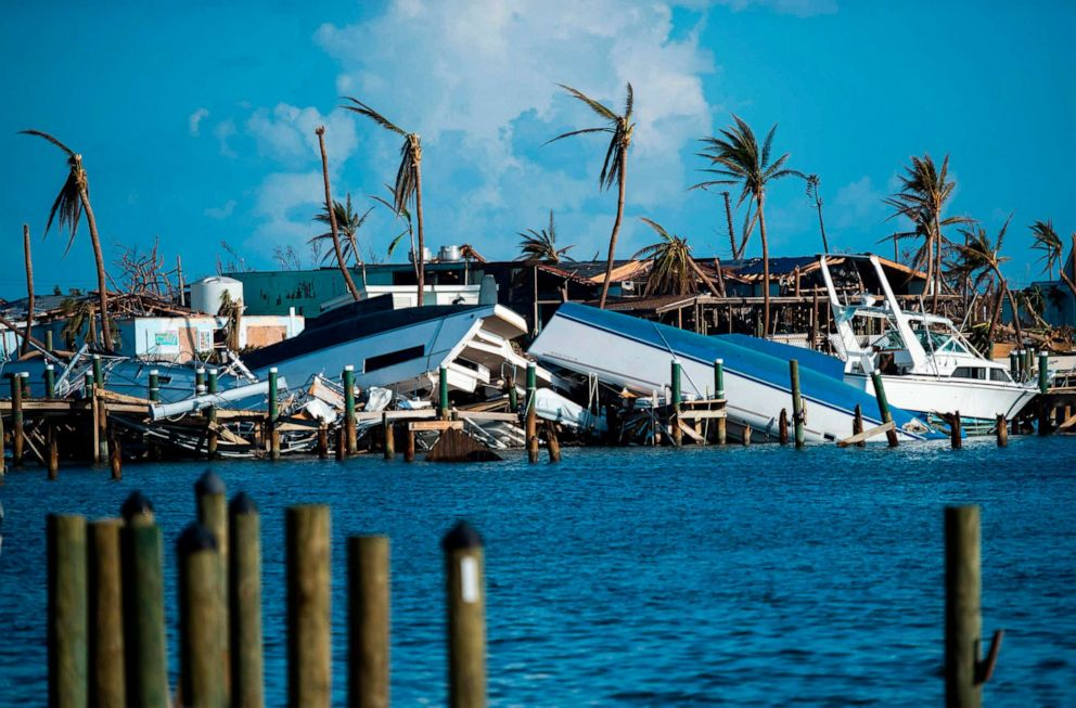 PHOTO: Destroyed boats are pushed up against the pier in the aftermath of Hurricane Dorian in Treasure Cay on Abaco island, Bahamas, Sept. 11, 2019.