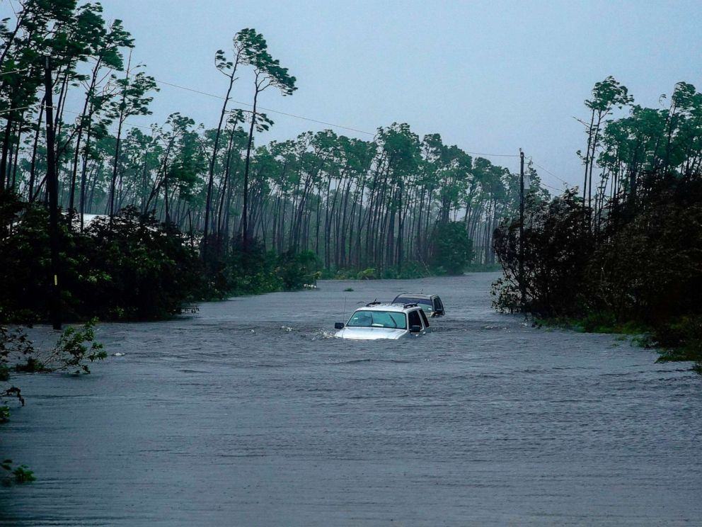 PHOTO: Submerged car sit submerged in water from Hurricane Dorian in Freeport, Bahamas, Sept. 3, 2019.