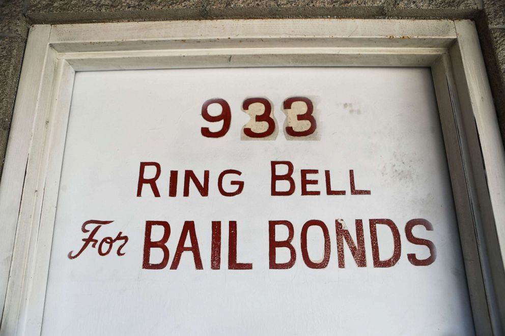 PHOTO: A sign advertises a bail bond company, Aug. 29, 2018, in Los Angeles.