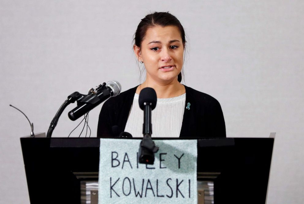 PHOTO: Bailey Kowalski speaks during a news conference in East Lansing, Mich., Thursday, April 11, 2019.