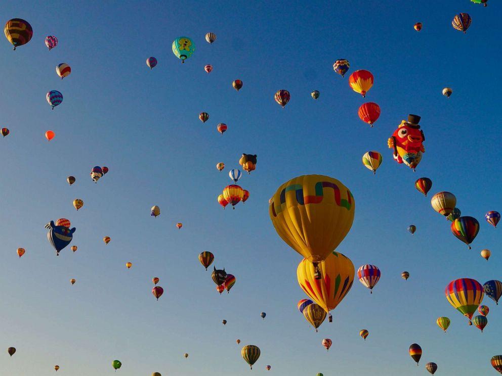 PHOTO: Hot air balloons are seen at the Albuquerque International Balloon Fiesta in Albuquerque of New Mexico, Oct. 7, 2019.