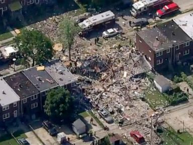 Gas explosion levels 3 Baltimore homes; 1 dead, 1 trapped