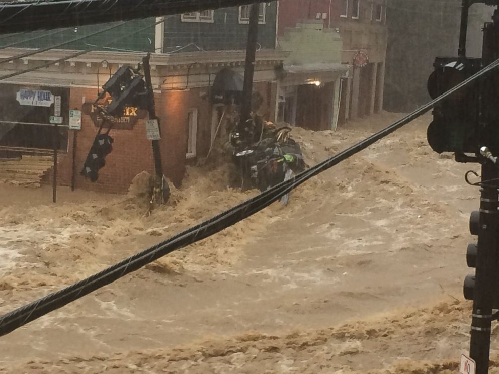 PHOTO: The streets are flooded in Ellicott City, Md., May 27, 2018.