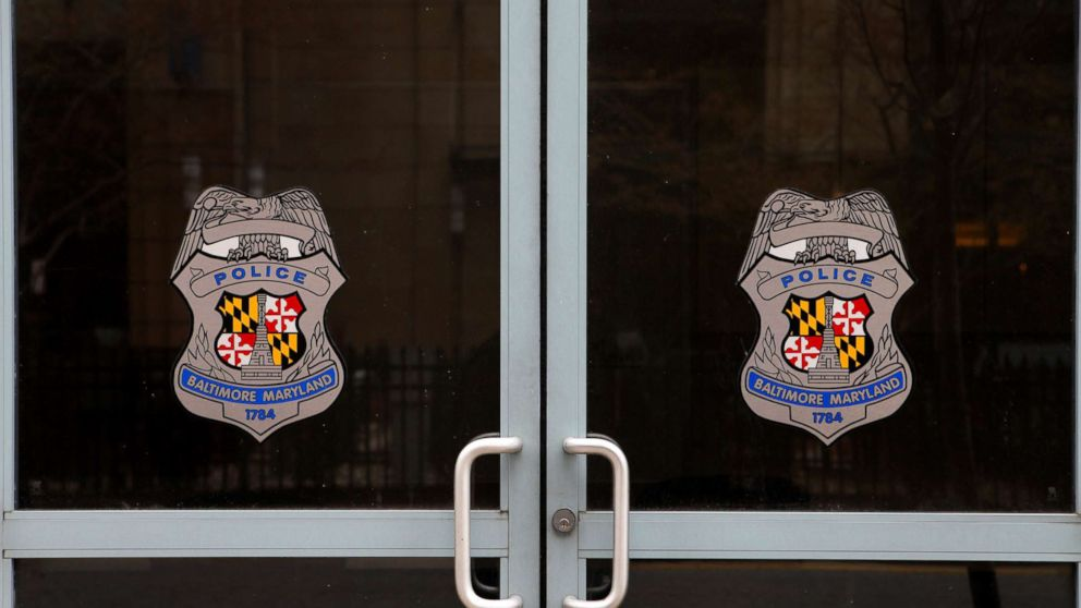 The doors to a Baltimore City Police Department Substation are pictured on April 9, 2015 in Baltimore.