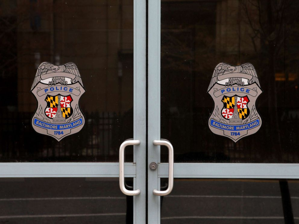 PHOTO: The doors to a Baltimore City Police Department Substation are pictured on April 9, 2015 in Baltimore.