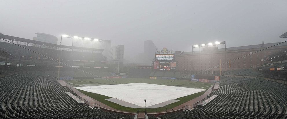 PHOTO: The game between the Baltimore Orioles and the New York Yankees was delayed due to weather at Oriole Park at Camden Yards on Tuesday, Aug. 6, 2019 in Baltimore.