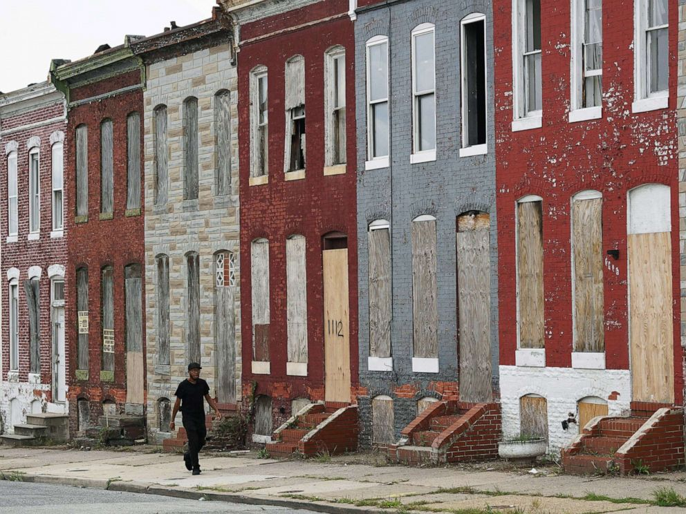 PHOTO: A row of boarded up houses in east Baltimore, Aug. 8, 2017. Baltimore is troubled by drug use, poverty and racial segregation problems.