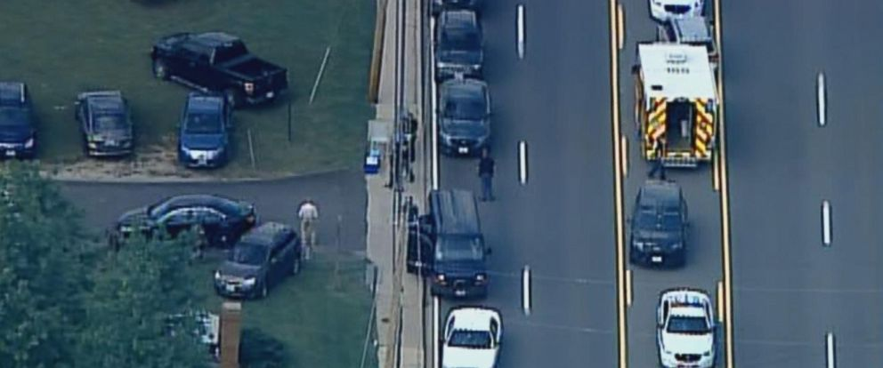 PHOTO: The scene where a Baltimore County Police officer was shot and killed, May 21, 2018.