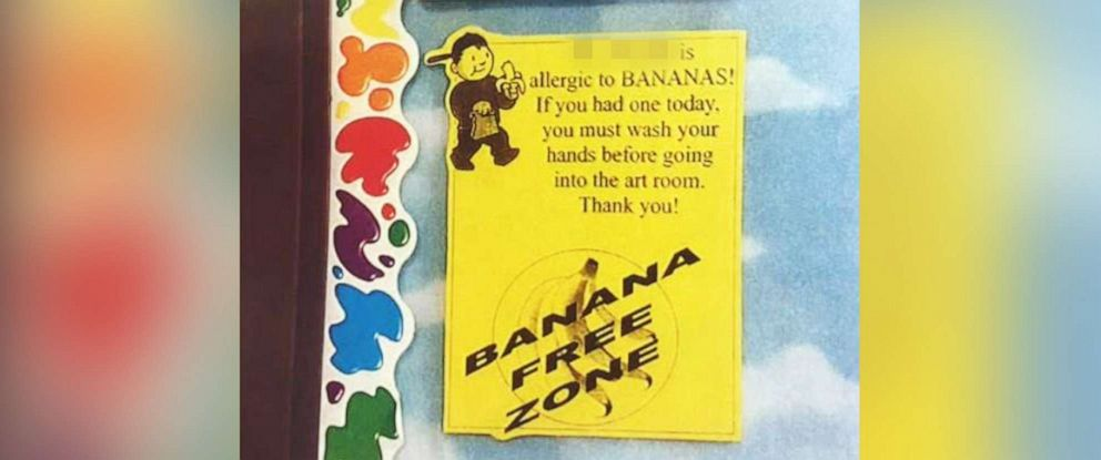 PHOTO: Columbus Police released this undated image of a sign outside of a classroom, warning that the teacher had a banana allergy, at Starling K-8 School in Columbus, Ohio.