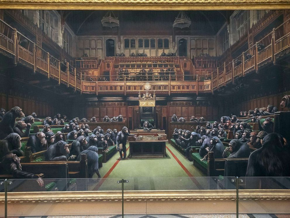 PHOTO: In this March 28, 2019, file photo, the painting Devolved Parliament by the graffiti artist Banksy, is shown.