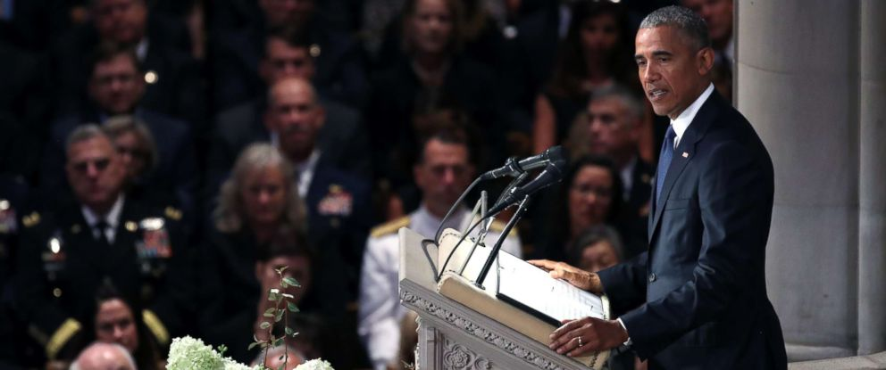 PHOTO: Former President Barack Obama speaks at the funeral service for Sen. John McCain at the National Cathedral on Sept. 1, 2018 in Washington, D.C.