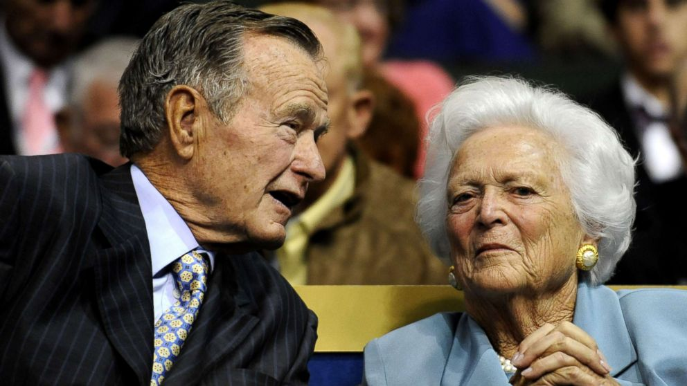 In this Sept. 2, 2008 file photo, former U.S. President George H.W. Bush, left, and former first lady Barbara Bush are seen at the Republican National Convention in St. Paul, Minn.