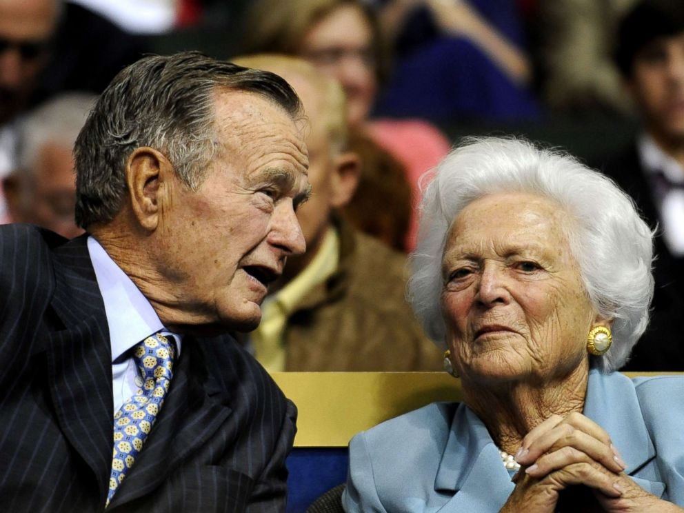 PHOTO: In this Sept. 2, 2008 file photo, former U.S. President George H.W. Bush, left, and former first lady Barbara Bush are seen at the Republican National Convention in St. Paul, Minn.