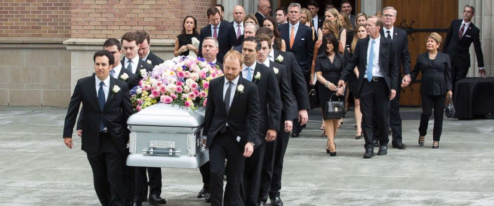 PHOTO: The casket of former first lady Barbara Bush is carried from St. Martin's Episcopal Church by her grandsons, April 21, 2018, in Houston.