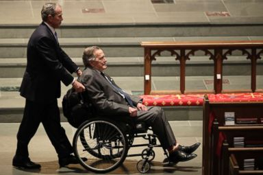 PHOTO: Former Presidents George W. Bush, left, and George H.W. Bush arrive at St. Martins Episcopal Church for a funeral service for former first lady Barbara Bush, April 21, 2018, in Houston.