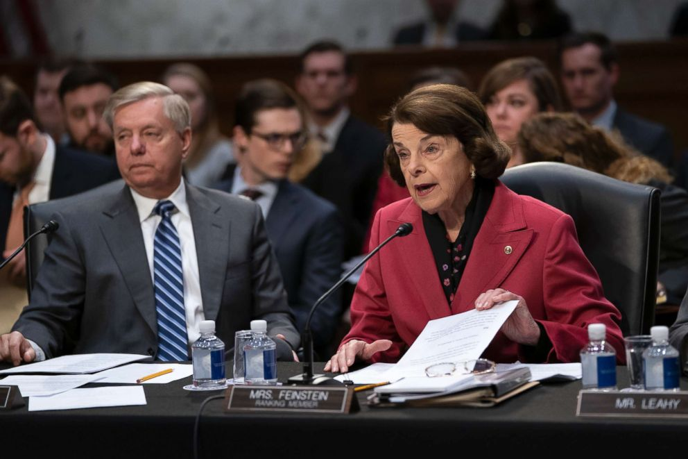 PHOTO: Senate Judiciary Committee Chairman Lindsey Graham, left, listens as Sen. Dianne Feinstein, the ranking member, objects to advancing the nomination of Bill Barr to be attorney general, on Capitol Hill in Washington, D.C., Feb. 7, 2019.