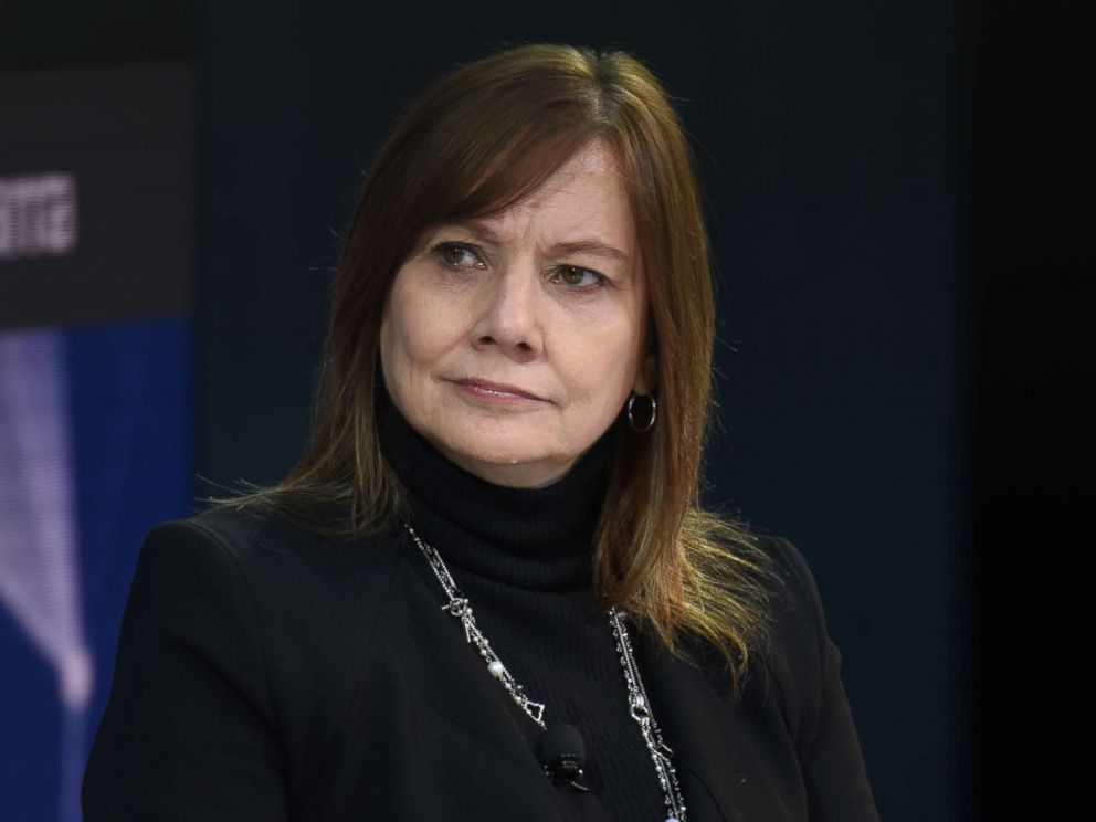 PHOTO: Mary Barra, chairman and CEO of General Motors speaks at the New York Times DealBook conference, Nov. 1, 2018, in New York.