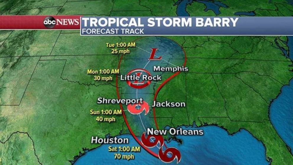 PHOTO: Barry is forecast to make landfall in southern Louisiana early Saturday.