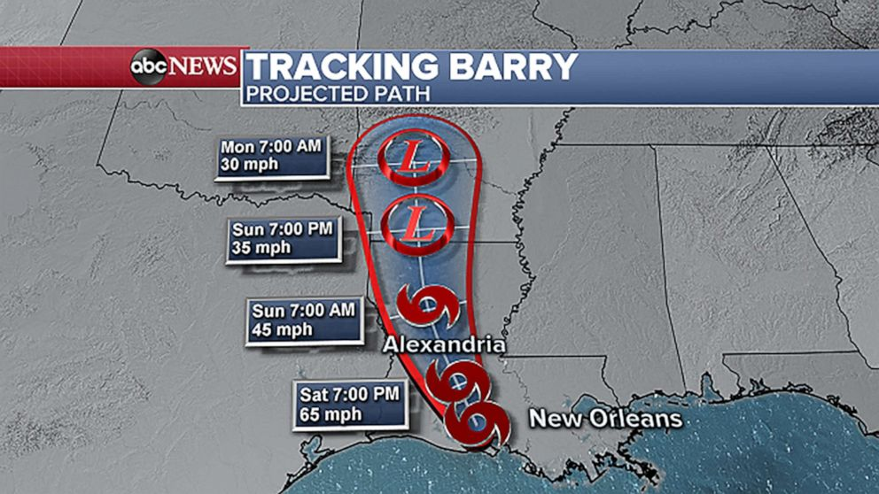 PHOTO: Barry's projected path.