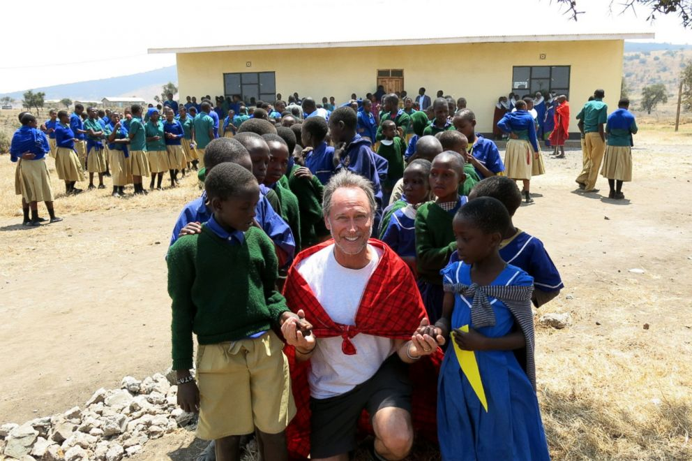 PHOTO: Barry Leonard is seen after dedicating a library for Masai children, Aug. 2013.