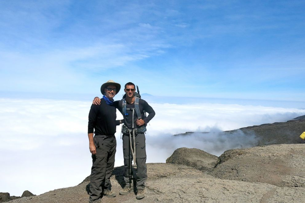 PHOTO: Barry Leonard and his son Matthew are seen after hiking Mt. Kilimanjaro, Aug. 2013.
