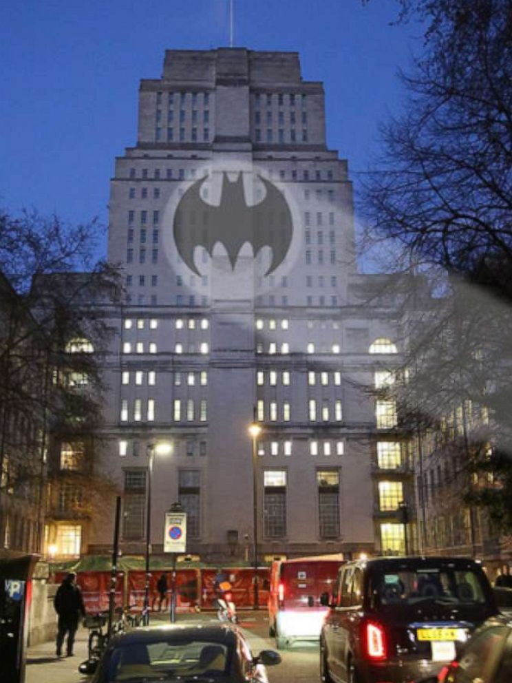 PHOTO: A rendering of the Bat-Signal on Londons Senate House is seen here.
