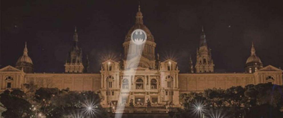 PHOTO: A rendering of the Bat-Signal projection on Barcelonas Museu Nacional d'Art de Catalunya is seen here.
