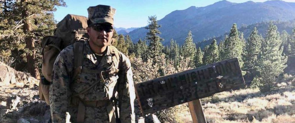 PHOTO: Pfc. Christian Bautista stands at a trail summit while participating in a unit hike at the Mountain Warfare Training Center in Bridgeport, Calif in this undated file photo.