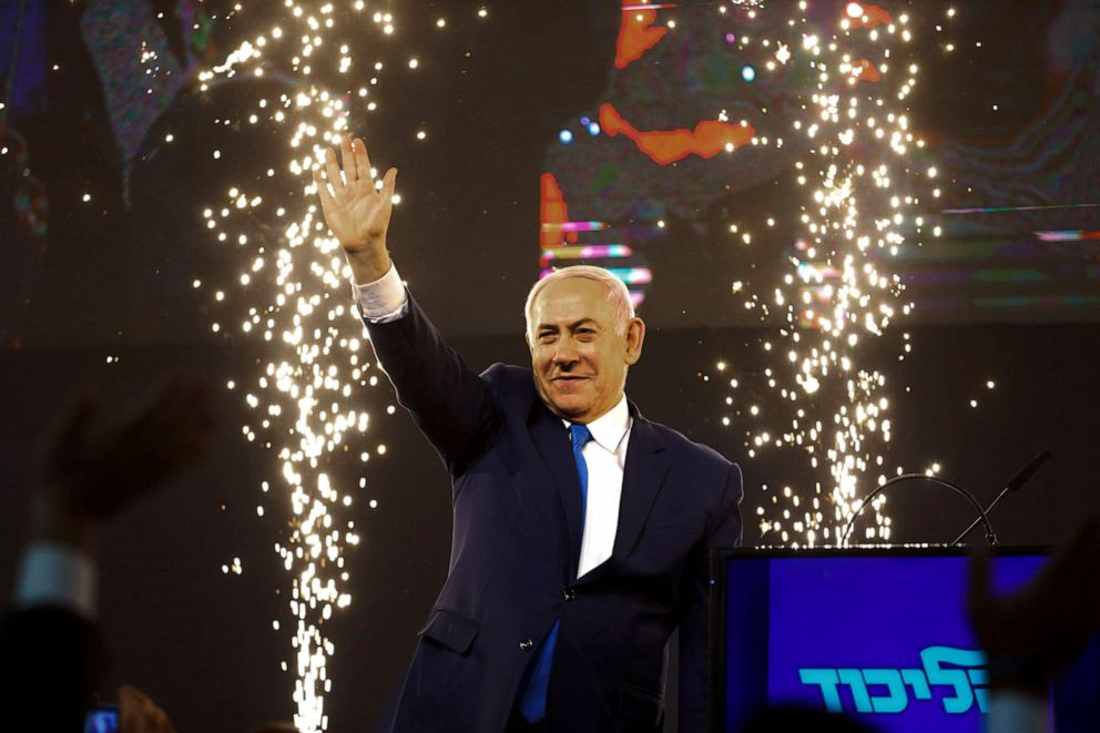 PHOTO: Israels Prime Minister Benjamin Netanyahu waves to his supporters after polls for Israels general elections closed in Tel Aviv, Israel, April 10, 2019.
