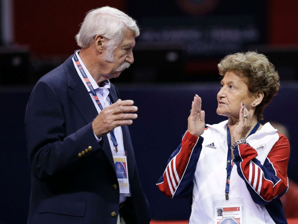 PHOTO: Bela Karolyi, left, and his wife Martha Karolyi talk on the arena floor before the start of the preliminary round of the womens Olympic gymnastics trials in San Jose, Calif., June 29, 2012.