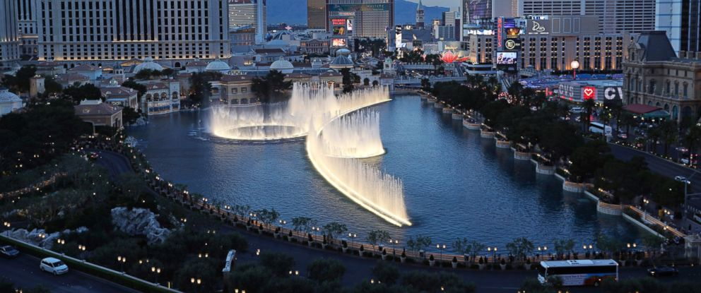 PHOTO: In this April 4, 2017, file photo, the fountains of Bellagio erupt along the Las Vegas Strip in Las Vegas.